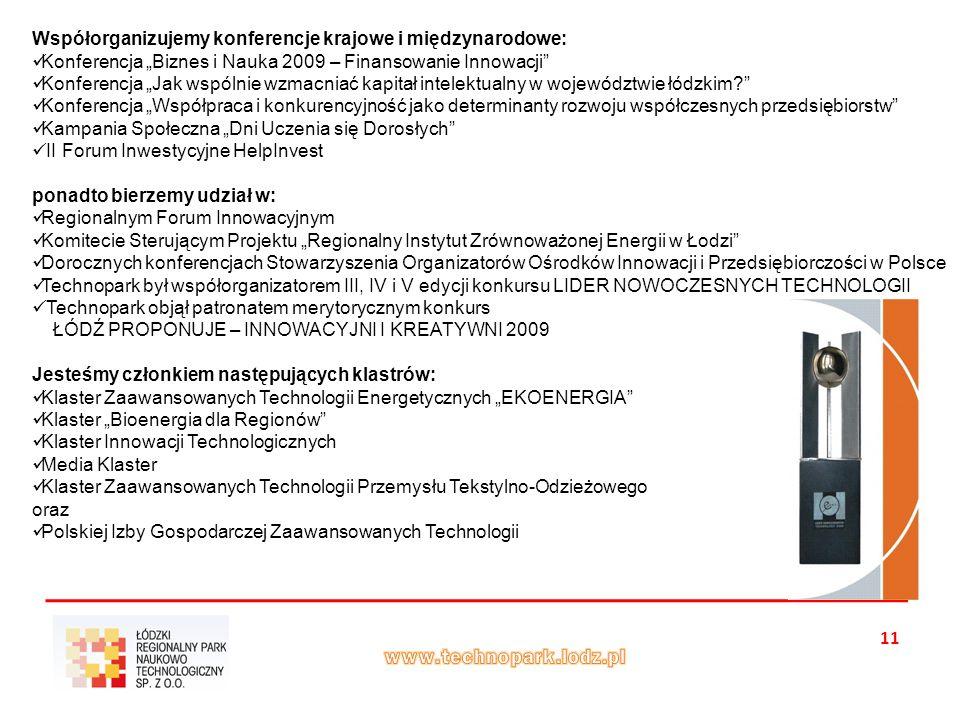 """11 Współorganizujemy konferencje krajowe i międzynarodowe: Konferencja """"Biznes i Nauka 2009 – Finansowanie Innowacji Konferencja """"Jak wspólnie wzmacniać kapitał intelektualny w województwie łódzkim Konferencja """"Współpraca i konkurencyjność jako determinanty rozwoju współczesnych przedsiębiorstw Kampania Społeczna """"Dni Uczenia się Dorosłych II Forum Inwestycyjne HelpInvest ponadto bierzemy udział w: Regionalnym Forum Innowacyjnym Komitecie Sterującym Projektu """"Regionalny Instytut Zrównoważonej Energii w Łodzi Dorocznych konferencjach Stowarzyszenia Organizatorów Ośrodków Innowacji i Przedsiębiorczości w Polsce Technopark był współorganizatorem III, IV i V edycji konkursu LIDER NOWOCZESNYCH TECHNOLOGII Technopark objął patronatem merytorycznym konkurs ŁÓDŹ PROPONUJE – INNOWACYJNI I KREATYWNI 2009 Jesteśmy członkiem następujących klastrów: Klaster Zaawansowanych Technologii Energetycznych """"EKOENERGIA Klaster """"Bioenergia dla Regionów Klaster Innowacji Technologicznych Media Klaster Klaster Zaawansowanych Technologii Przemysłu Tekstylno-Odzieżowego oraz Polskiej Izby Gospodarczej Zaawansowanych Technologii"""