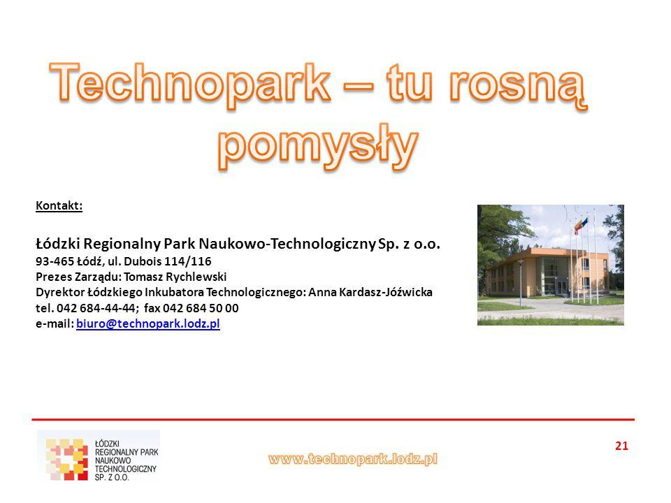 21 Kontakt: Łódzki Regionalny Park Naukowo-Technologiczny Sp.