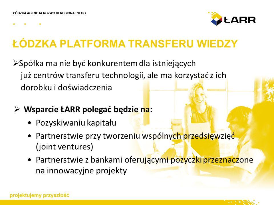 ŁÓDZKA PLATFORMA TRANSFERU WIEDZY  Spółka ma nie być konkurentem dla istniejących już centrów transferu technologii, ale ma korzystać z ich dorobku i doświadczenia  Wsparcie ŁARR polegać będzie na: Pozyskiwaniu kapitału Partnerstwie przy tworzeniu wspólnych przedsięwzięć (joint ventures) Partnerstwie z bankami oferującymi pożyczki przeznaczone na innowacyjne projekty