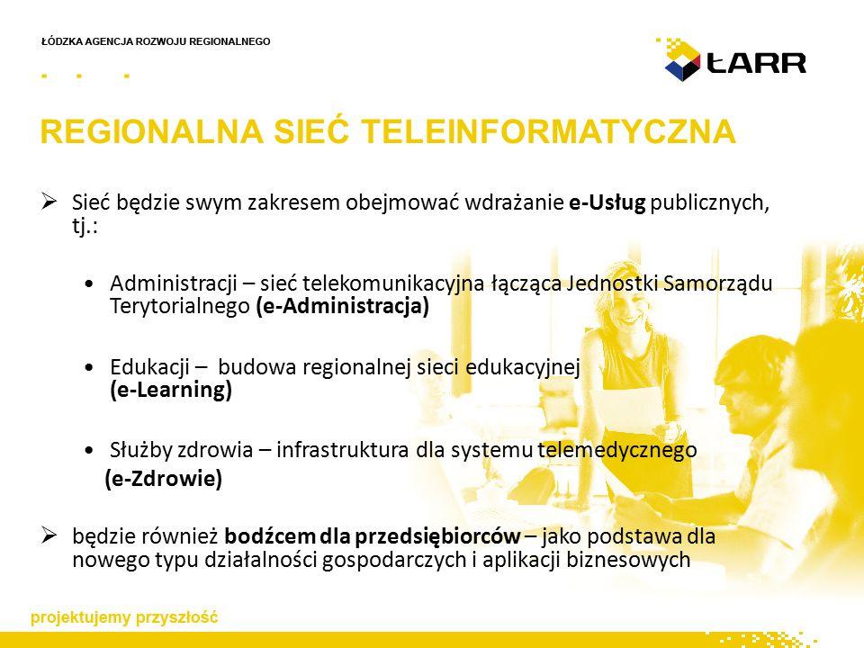  Sieć będzie swym zakresem obejmować wdrażanie e-Usług publicznych, tj.: Administracji – sieć telekomunikacyjna łącząca Jednostki Samorządu Terytorialnego (e-Administracja) Edukacji – budowa regionalnej sieci edukacyjnej (e-Learning) Służby zdrowia – infrastruktura dla systemu telemedycznego (e-Zdrowie)  będzie również bodźcem dla przedsiębiorców – jako podstawa dla nowego typu działalności gospodarczych i aplikacji biznesowych