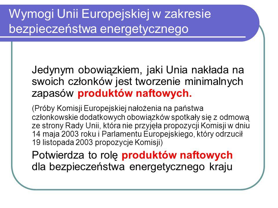 Wymogi Unii Europejskiej w zakresie bezpieczeństwa energetycznego Jedynym obowiązkiem, jaki Unia nakłada na swoich członków jest tworzenie minimalnych zapasów produktów naftowych.