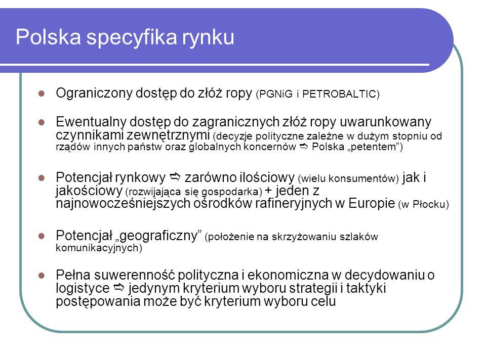 """Polska specyfika rynku Ograniczony dostęp do złóż ropy (PGNiG i PETROBALTIC) Ewentualny dostęp do zagranicznych złóż ropy uwarunkowany czynnikami zewnętrznymi (decyzje polityczne zależne w dużym stopniu od rządów innych państw oraz globalnych koncernów  Polska """"petentem ) Potencjał rynkowy  zarówno ilościowy (wielu konsumentów) jak i jakościowy (rozwijająca się gospodarka) + jeden z najnowocześniejszych ośrodków rafineryjnych w Europie (w Płocku) Potencjał """"geograficzny (położenie na skrzyżowaniu szlaków komunikacyjnych) Pełna suwerenność polityczna i ekonomiczna w decydowaniu o logistyce  jedynym kryterium wyboru strategii i taktyki postępowania może być kryterium wyboru celu"""