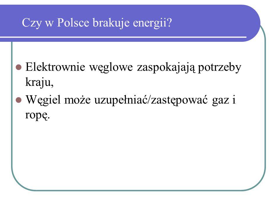 Czy w Polsce brakuje energii? Elektrownie węglowe zaspokajają potrzeby kraju, Węgiel może uzupełniać/zastępować gaz i ropę.
