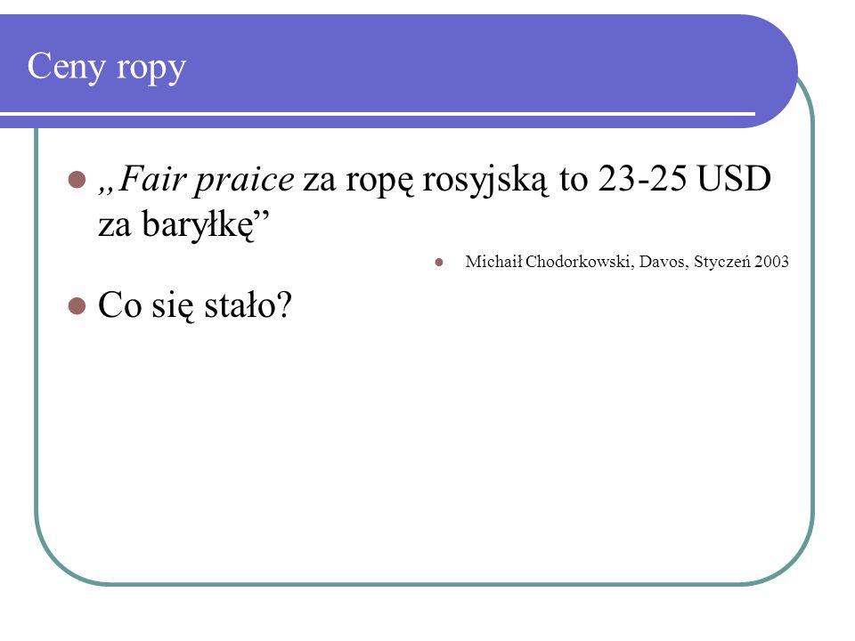 """Ceny ropy """"Fair praice za ropę rosyjską to 23-25 USD za baryłkę Michaił Chodorkowski, Davos, Styczeń 2003 Co się stało"""