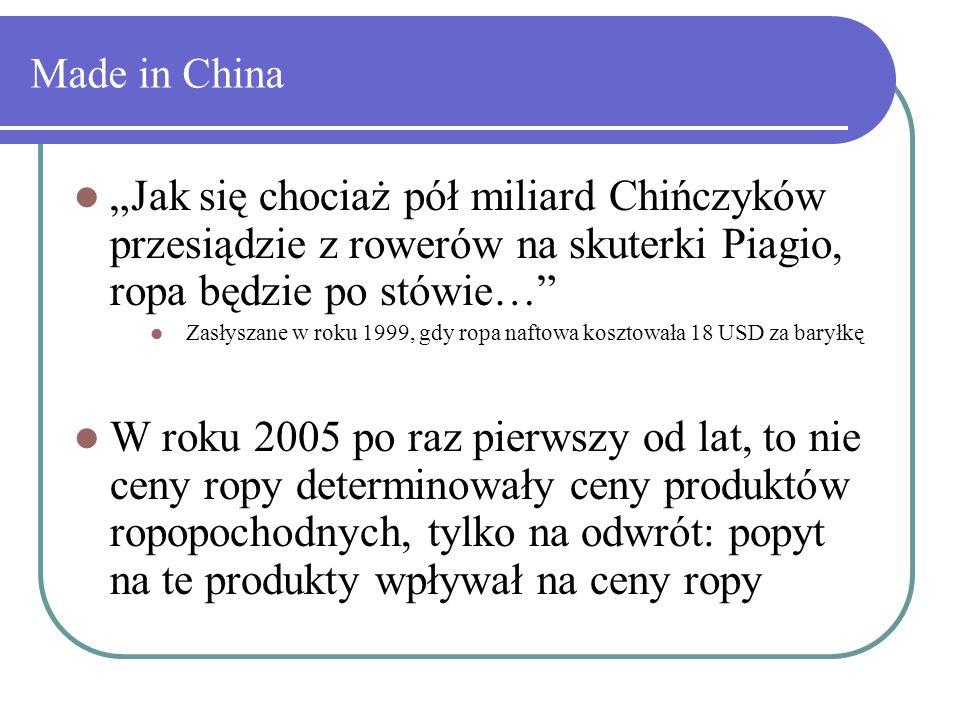 """Made in China """"Jak się chociaż pół miliard Chińczyków przesiądzie z rowerów na skuterki Piagio, ropa będzie po stówie…"""" Zasłyszane w roku 1999, gdy ro"""