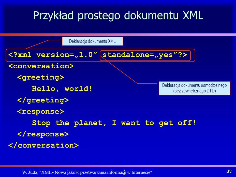 W. Juda, XML - Nowa jakość przetwarzania informacji w Internecie 36 Jak jest zdefiniowany XML.