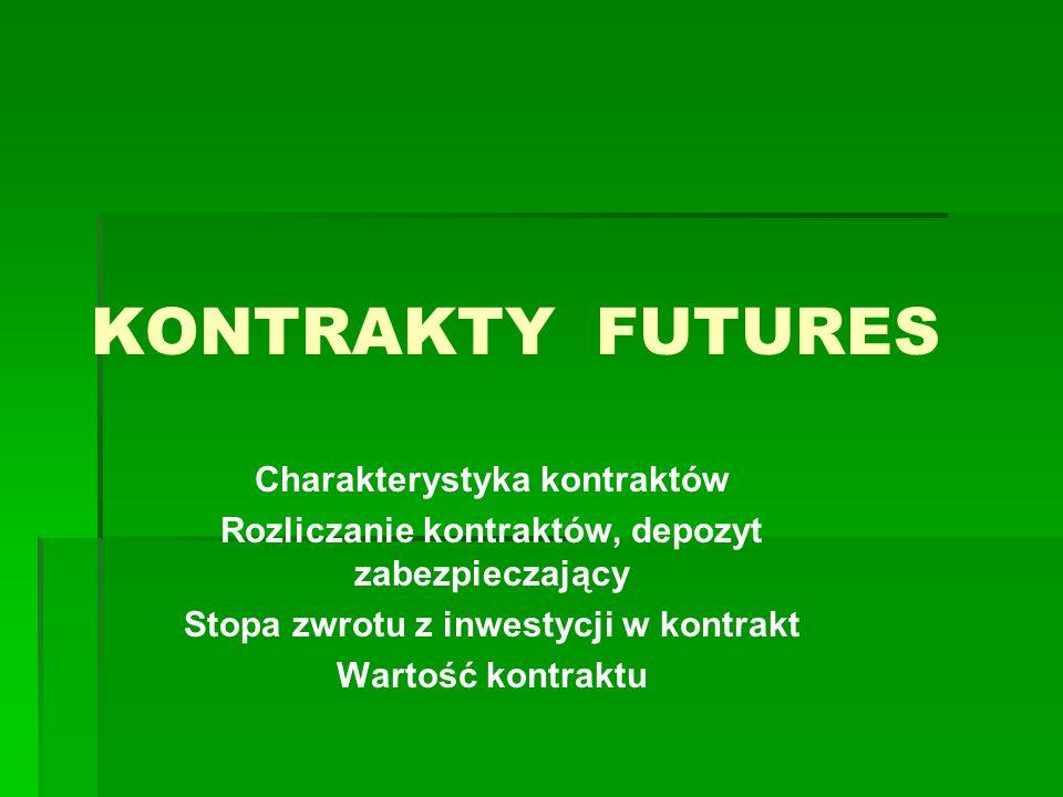 Kontrakty futures Kontraktem typu futures jest umowa między dwoma podmiotami dotycząca dostawy określonej ilości towaru lub określonych aktywów w ustalonej chwili w przyszłości po ustalonej cenie lub też dokonania rozliczenia pieniężnego mającego na celu wyrównanie różnicy cen, w warunkach redukcji ryzyka niedotrzymania kontraktu przez obie strony.