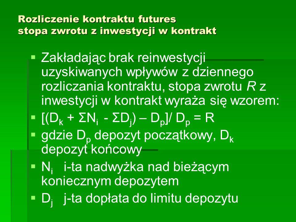 Rozliczenie kontraktu futures stopa zwrotu z inwestycji w kontrakt   Zakładając brak reinwestycji uzyskiwanych wpływów z dziennego rozliczania kontraktu, stopa zwrotu R z inwestycji w kontrakt wyraża się wzorem:   [(D k + ΣN i - ΣD j ) – D p ]/ D p = R   gdzie D p depozyt początkowy, D k depozyt końcowy   N i i-ta nadwyżka nad bieżącym koniecznym depozytem   D j j-ta dopłata do limitu depozytu