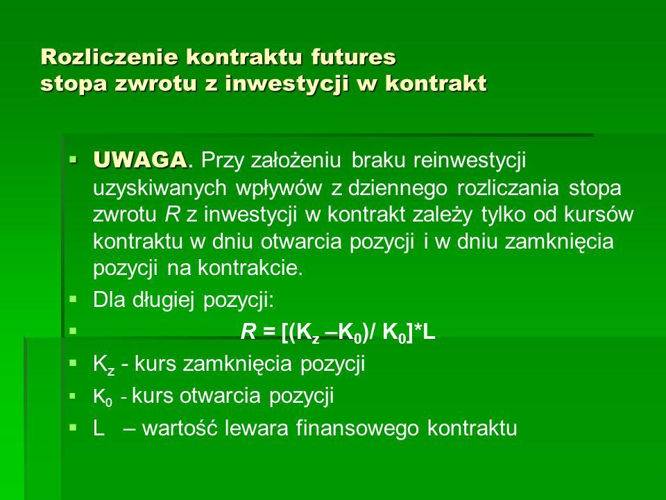 Rozliczenie kontraktu futures stopa zwrotu z inwestycji w kontrakt  UWAGA  UWAGA. Przy założeniu braku reinwestycji uzyskiwanych wpływów z dziennego