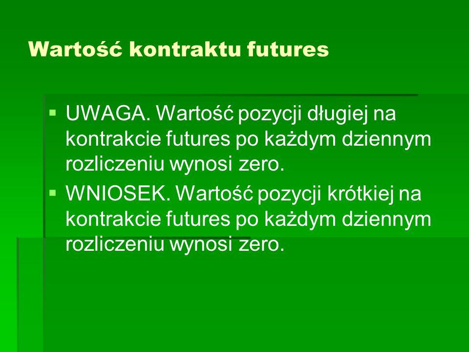 Wartość kontraktu futures   UWAGA. Wartość pozycji długiej na kontrakcie futures po każdym dziennym rozliczeniu wynosi zero.   WNIOSEK. Wartość po