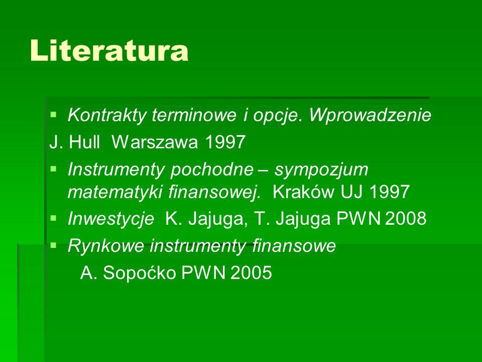 Literatura   Kontrakty terminowe i opcje. Wprowadzenie J. Hull Warszawa 1997   Instrumenty pochodne – sympozjum matematyki finansowej. Kraków UJ 1