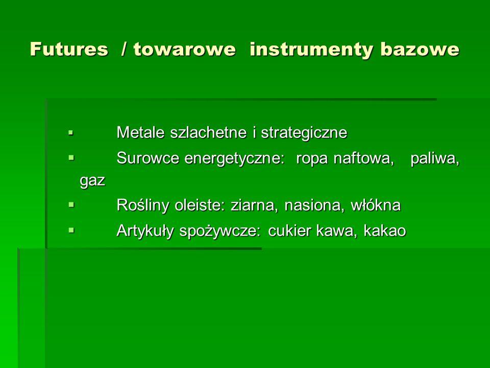 Futures / towarowe instrumenty bazowe  Metale szlachetne i strategiczne  Surowce energetyczne: ropa naftowa, paliwa, gaz  Rośliny oleiste: ziarna,