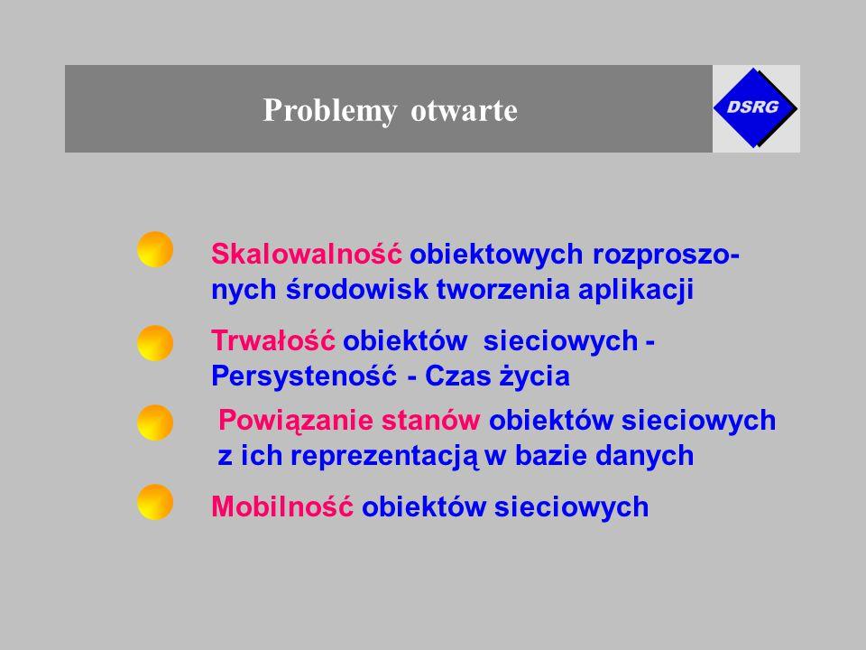 Problemy otwarte Skalowalność obiektowych rozproszo- nych środowisk tworzenia aplikacji Powiązanie stanów obiektów sieciowych z ich reprezentacją w bazie danych Trwałość obiektów sieciowych - Persysteność - Czas życia Mobilność obiektów sieciowych