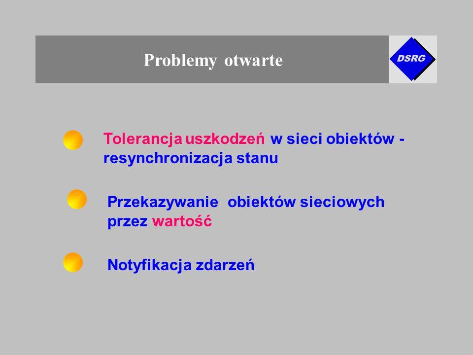 Problemy otwarte Tolerancja uszkodzeń w sieci obiektów - resynchronizacja stanu Notyfikacja zdarzeń Przekazywanie obiektów sieciowych przez wartość