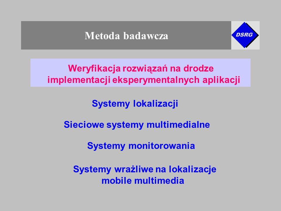 Metoda badawcza Weryfikacja rozwiązań na drodze implementacji eksperymentalnych aplikacji Systemy lokalizacji Systemy monitorowania Systemy wrażliwe na lokalizacje mobile multimedia Sieciowe systemy multimedialne