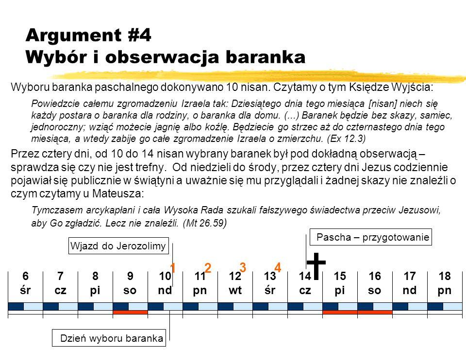 Argument #4 Wybór i obserwacja baranka Wyboru baranka paschalnego dokonywano 10 nisan. Czytamy o tym Księdze Wyjścia: Powiedzcie całemu zgromadzeniu I