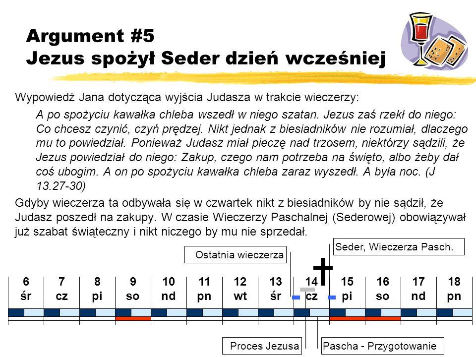 Proces Jezusa Pascha - Przygotowanie 7 cz 8 pi 9 so 10 nd 11 pn 12 wt 13 śr 14 cz 15 pi 16 so 17 nd 18 pn 6 śr Argument #5 Jezus spożył Seder dzień wc