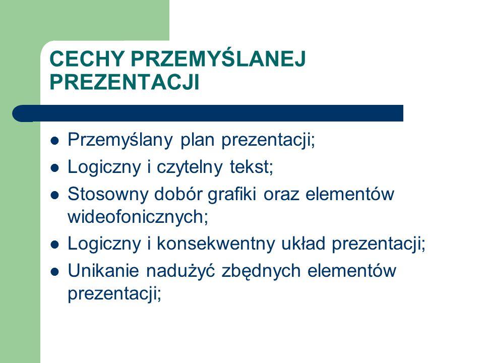 CECHY PRZEMYŚLANEJ PREZENTACJI Przemyślany plan prezentacji; Logiczny i czytelny tekst; Stosowny dobór grafiki oraz elementów wideofonicznych; Logiczn