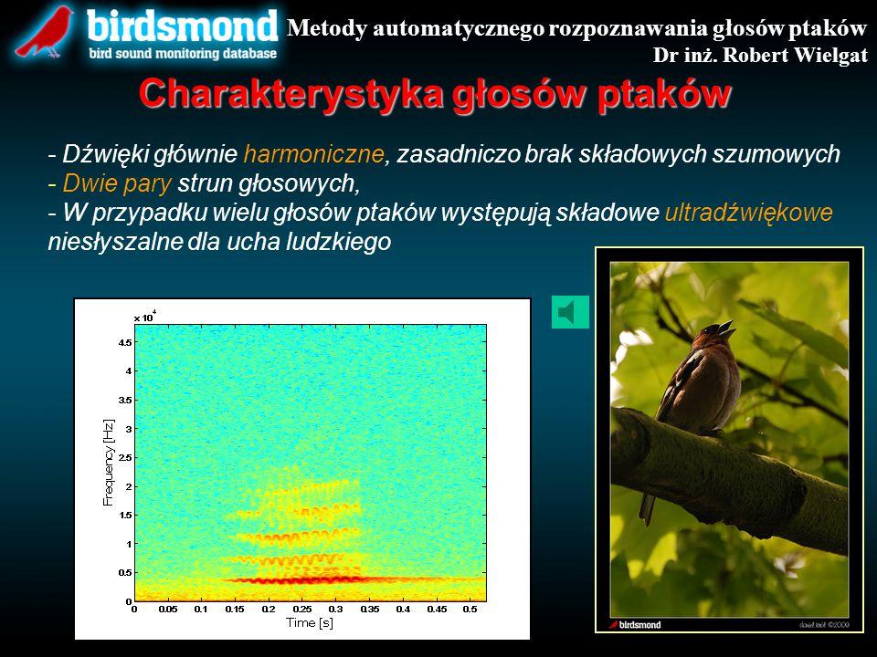 - Dźwięki głównie harmoniczne, zasadniczo brak składowych szumowych - Dwie pary strun głosowych, - W przypadku wielu głosów ptaków występują składowe ultradźwiękowe niesłyszalne dla ucha ludzkiego Metody automatycznego rozpoznawania głosów ptaków Dr inż.