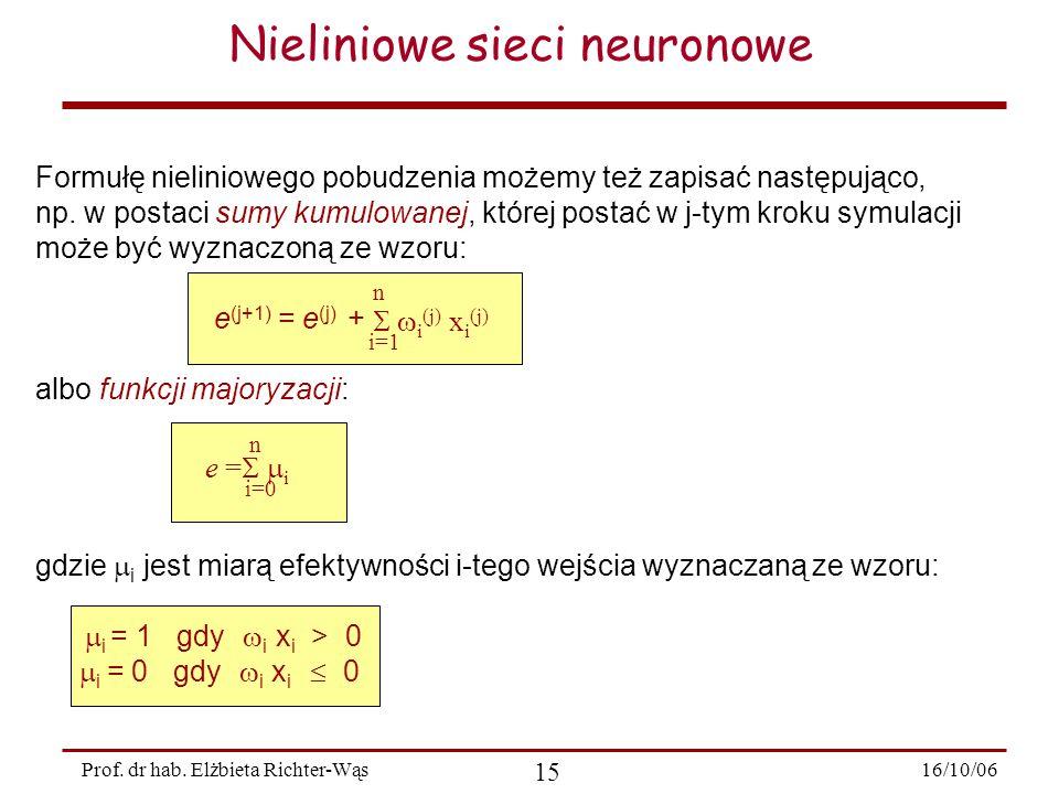 16/10/06 15 Prof. dr hab. Elżbieta Richter-Wąs Nieliniowe sieci neuronowe Formułę nieliniowego pobudzenia możemy też zapisać następująco, np. w postac