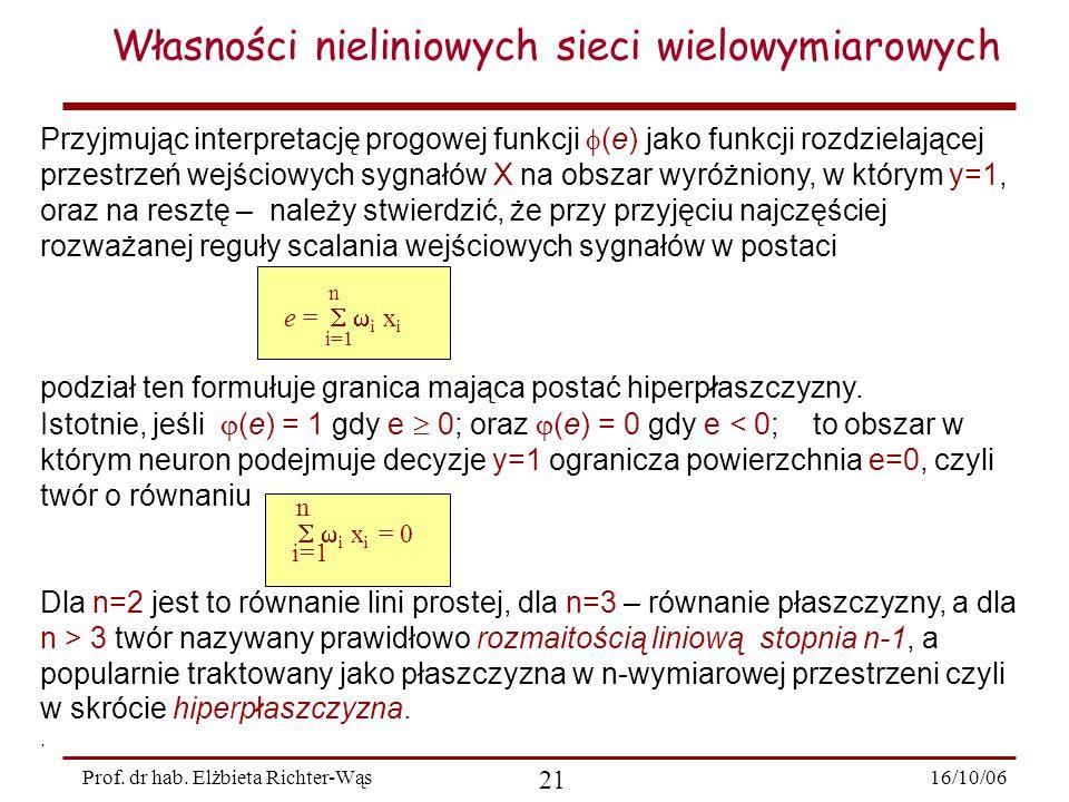 16/10/06 21 Prof. dr hab. Elżbieta Richter-Wąs Przyjmując interpretację progowej funkcji  (e) jako funkcji rozdzielającej przestrzeń wejściowych sygn