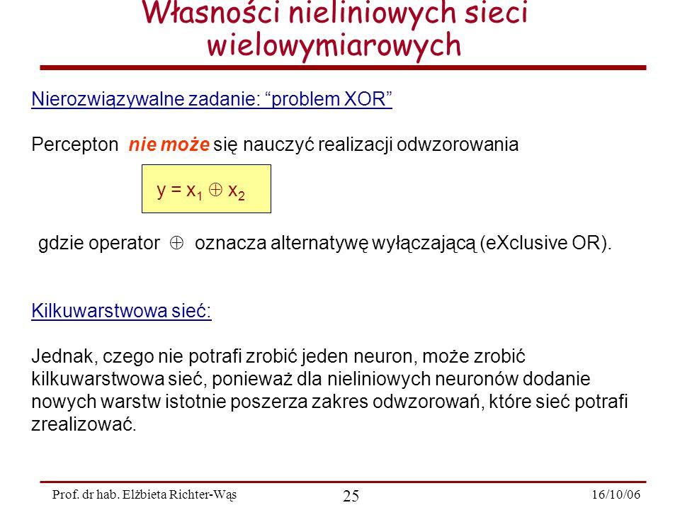 """16/10/06 25 Prof. dr hab. Elżbieta Richter-Wąs Nierozwiązywalne zadanie: """"problem XOR"""" Percepton nie może się nauczyć realizacji odwzorowania y = x 1"""