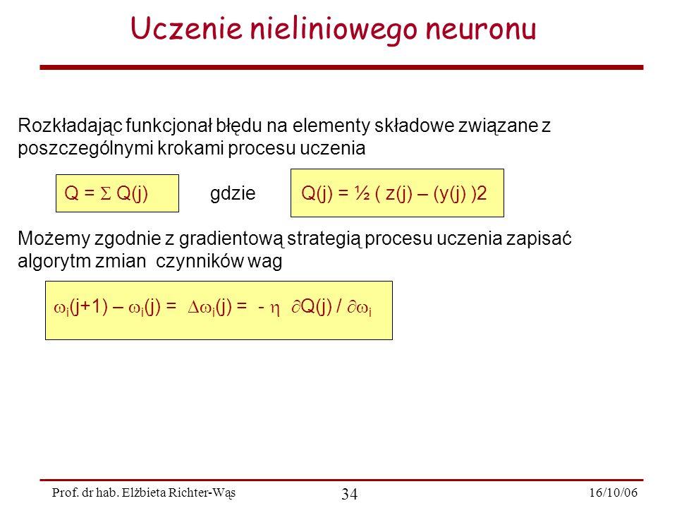 16/10/06 34 Prof. dr hab. Elżbieta Richter-Wąs Rozkładając funkcjonał błędu na elementy składowe związane z poszczególnymi krokami procesu uczenia Q =