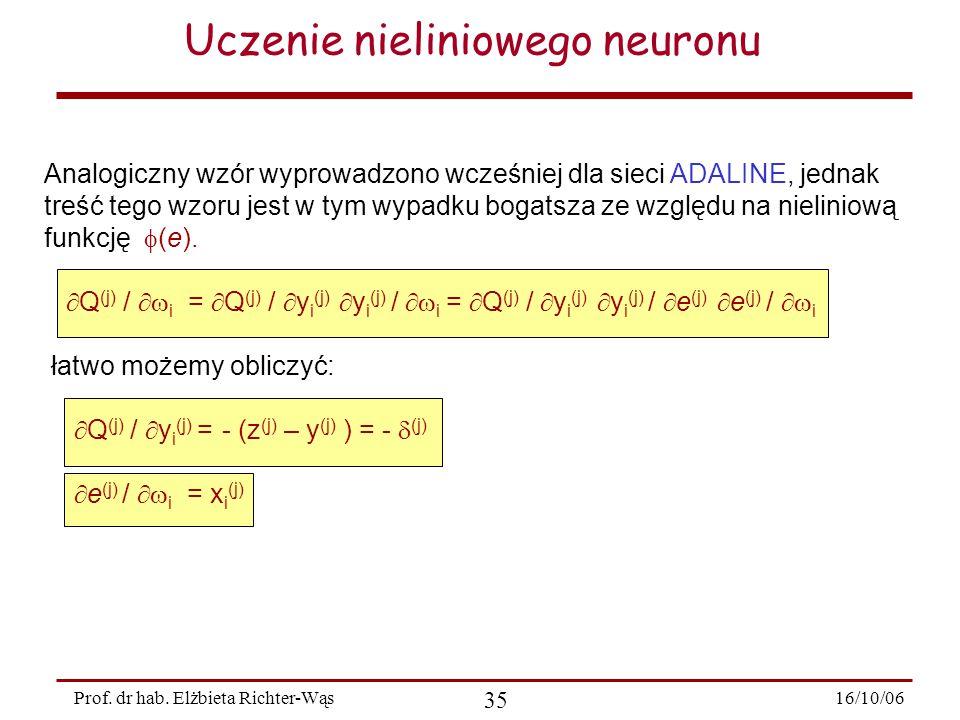16/10/06 35 Prof. dr hab. Elżbieta Richter-Wąs Uczenie nieliniowego neuronu Analogiczny wzór wyprowadzono wcześniej dla sieci ADALINE, jednak treść te