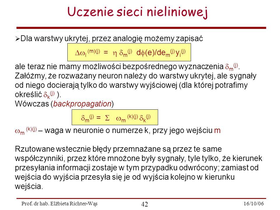 16/10/06 42 Prof. dr hab. Elżbieta Richter-Wąs Uczenie sieci nieliniowej  Dla warstwy ukrytej, przez analogię możemy zapisać  i (m)(j) =   m (j)