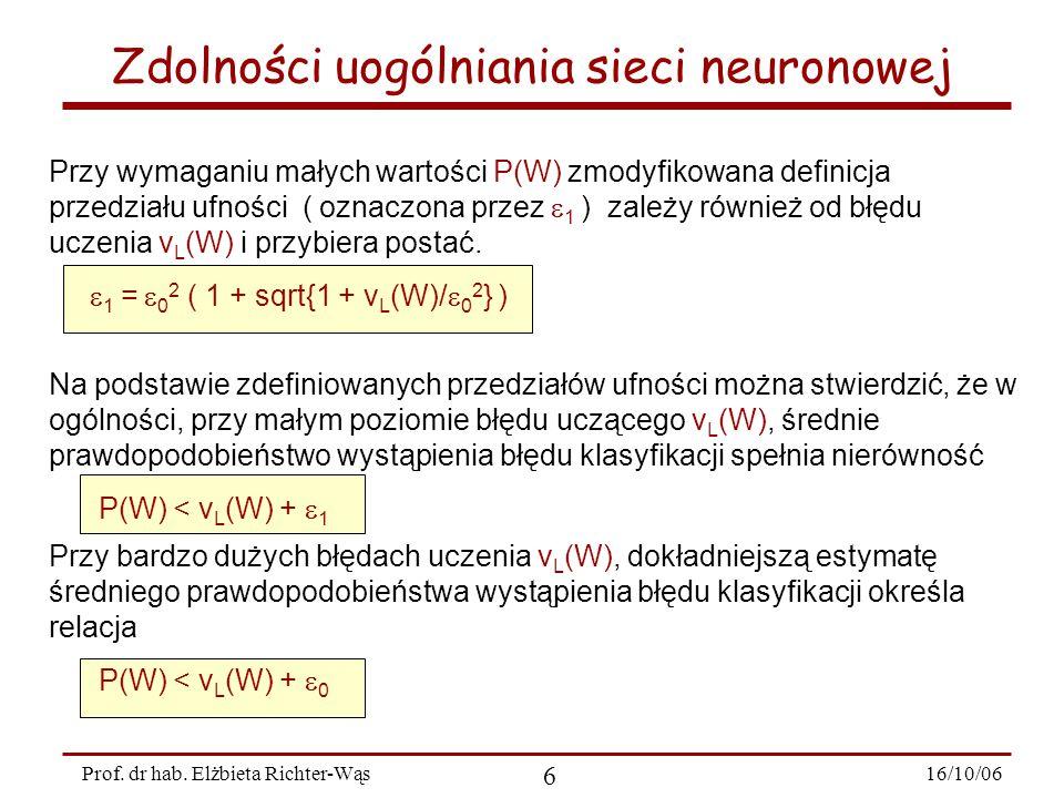 16/10/06 6 Prof. dr hab. Elżbieta Richter-Wąs Zdolności uogólniania sieci neuronowej Przy wymaganiu małych wartości P(W) zmodyfikowana definicja przed