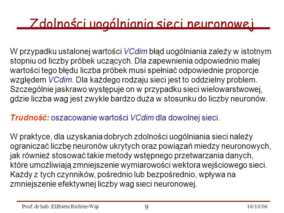 16/10/06 9 Prof. dr hab. Elżbieta Richter-Wąs Zdolności uogólniania sieci neuronowej W przypadku ustalonej wartości VCdim błąd uogólniania zależy w is