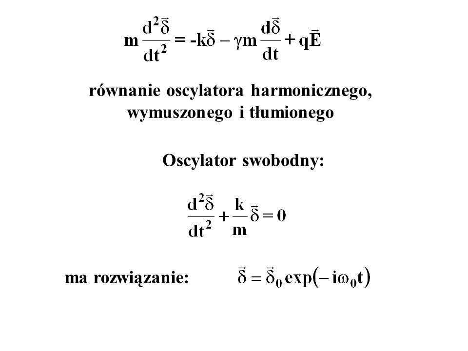 równanie oscylatora harmonicznego, wymuszonego i tłumionego Oscylator swobodny: ma rozwiązanie: