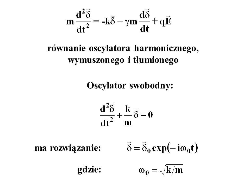 równanie oscylatora harmonicznego, wymuszonego i tłumionego Oscylator swobodny: ma rozwiązanie: gdzie: