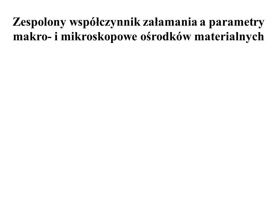 PODSUMOWANIE Wkład do współczynnika załamania od elektronów swobodnych: wkład do współczynnika załamania od elektronów związanych i swobodnych: