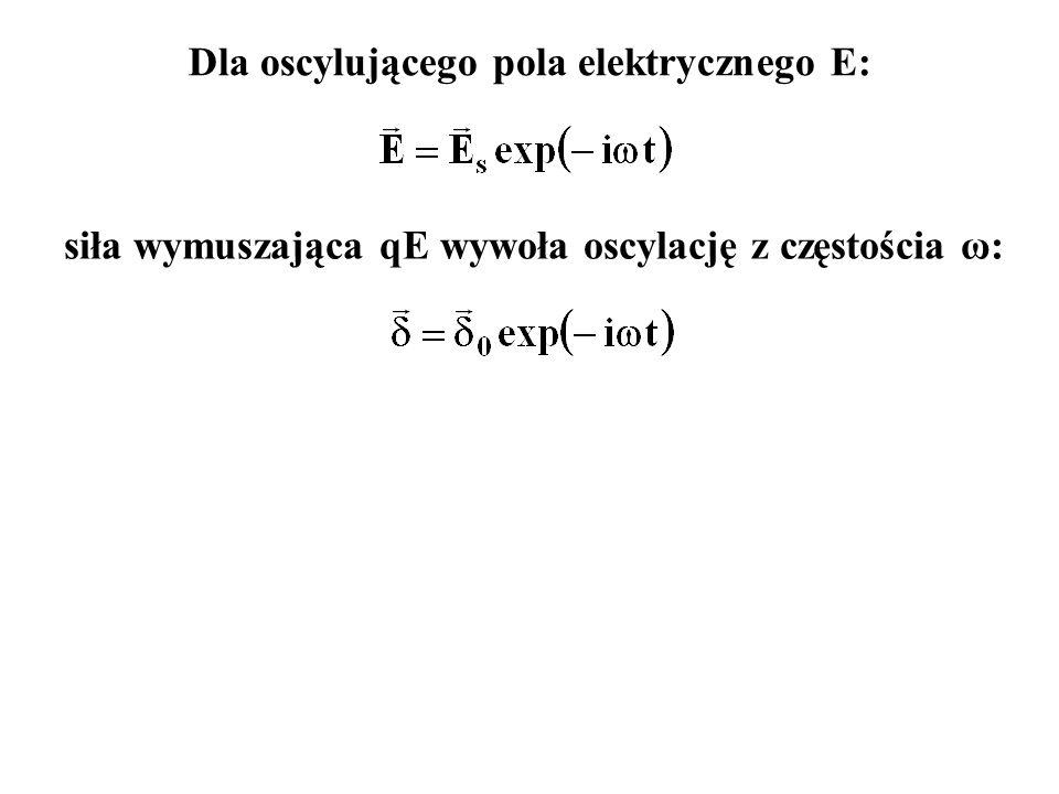 siła wymuszająca qE wywoła oscylację z częstościa ω: