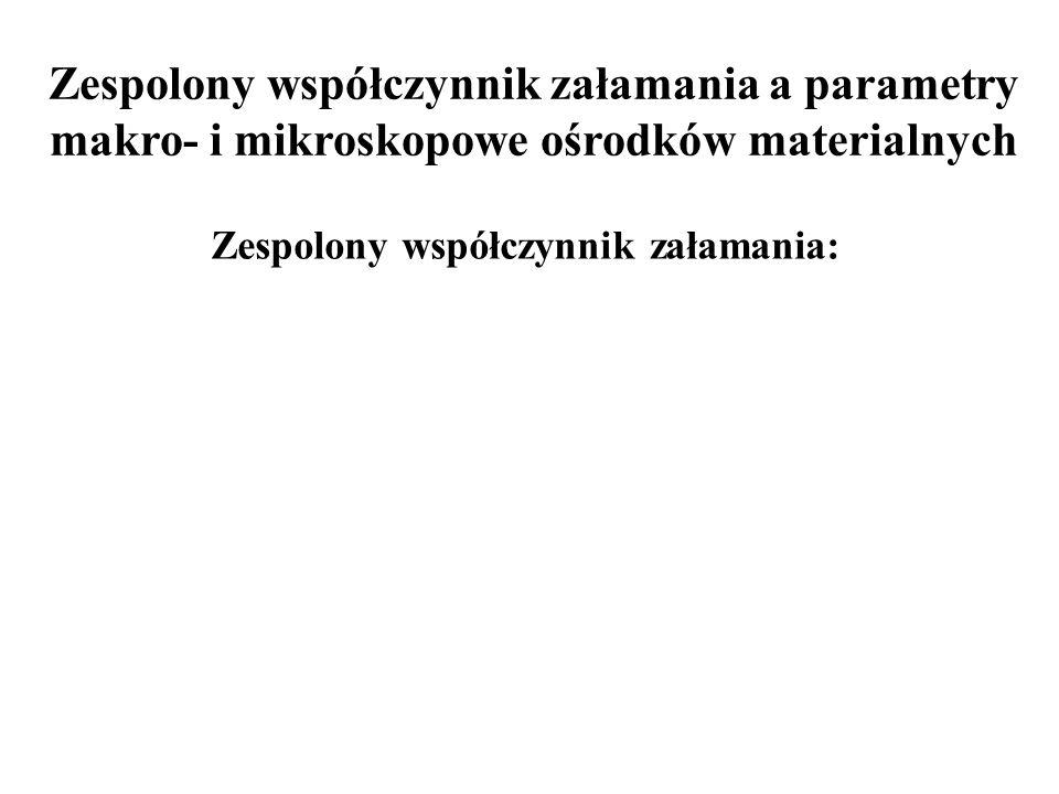 Własności optyczne metali Dla: zatem: dla metalu: ośrodek jest przeźroczysty Dla: i czyli: