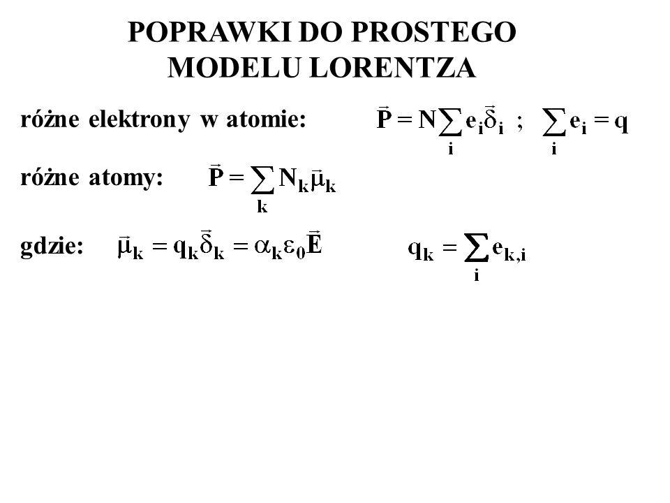 POPRAWKI DO PROSTEGO MODELU LORENTZA różne elektrony w atomie: różne atomy: gdzie: