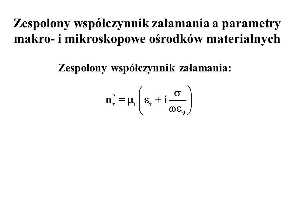 Zespolony współczynnik załamania a parametry makro- i mikroskopowe ośrodków materialnych Zespolony współczynnik załamania: