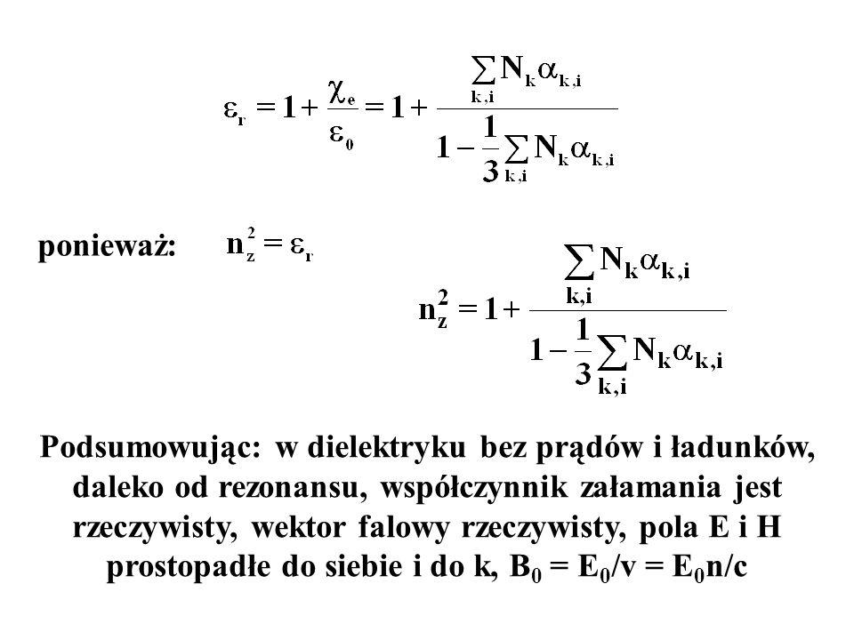 Podsumowując: w dielektryku bez prądów i ładunków, daleko od rezonansu, współczynnik załamania jest rzeczywisty, wektor falowy rzeczywisty, pola E i H