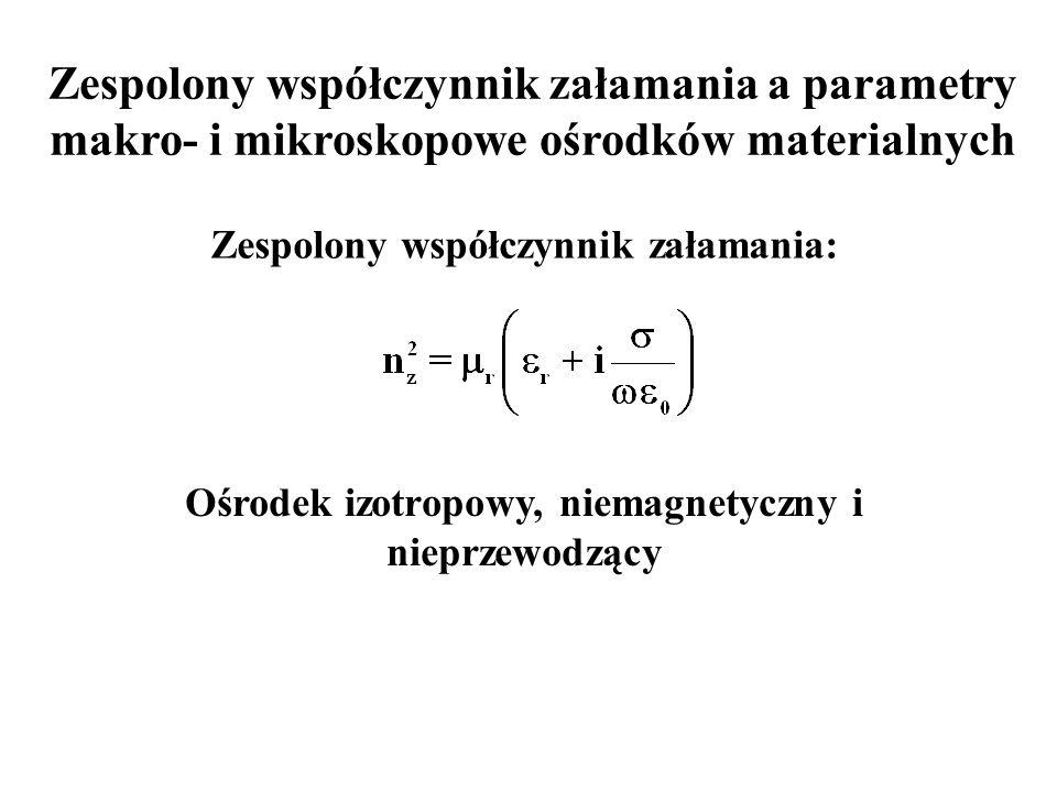 Zespolony współczynnik załamania a parametry makro- i mikroskopowe ośrodków materialnych Zespolony współczynnik załamania: Ośrodek izotropowy, niemagnetyczny i nieprzewodzący