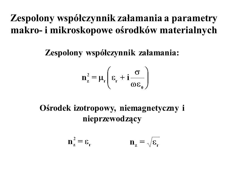 Zespolony współczynnik załamania a parametry makro- i mikroskopowe ośrodków materialnych Zespolony współczynnik załamania: Ośrodek izotropowy, niemagn