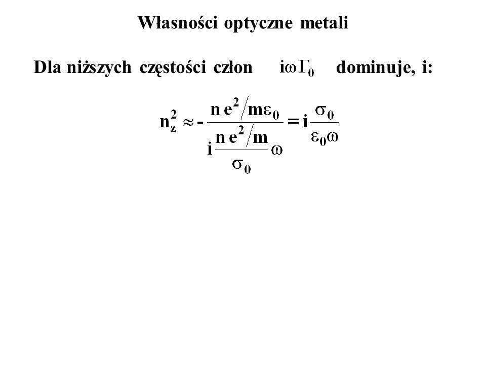 Własności optyczne metali Dla niższych częstości człondominuje, i: