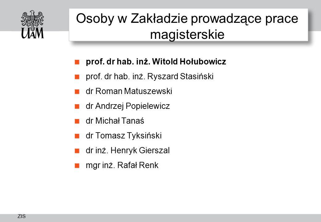 ZIS Osoby w Zakładzie prowadzące prace magisterskie prof.