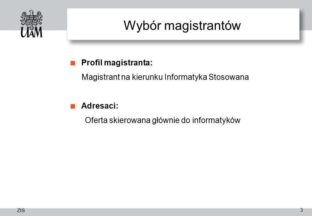 ZIS Wybór magistrantów Profil magistranta: Magistrant na kierunku Informatyka Stosowana Adresaci: Oferta skierowana głównie do informatyków 3
