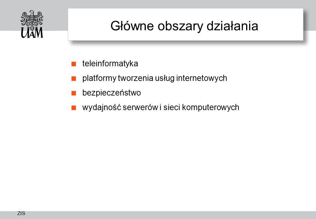 ZIS Główne obszary działania teleinformatyka platformy tworzenia usług internetowych bezpieczeństwo wydajność serwerów i sieci komputerowych