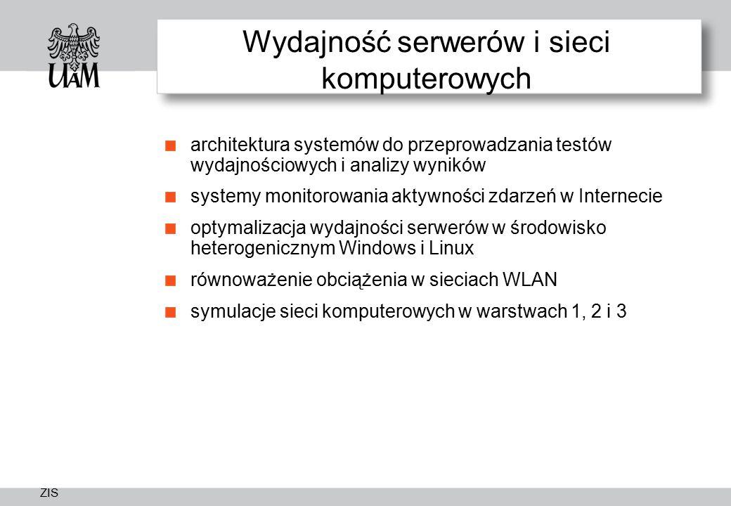 ZIS Wydajność serwerów i sieci komputerowych architektura systemów do przeprowadzania testów wydajnościowych i analizy wyników systemy monitorowania a