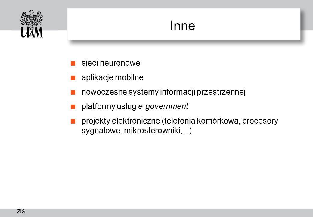 ZIS Inne sieci neuronowe aplikacje mobilne nowoczesne systemy informacji przestrzennej platformy usług e-government projekty elektroniczne (telefonia komórkowa, procesory sygnałowe, mikrosterowniki,...)