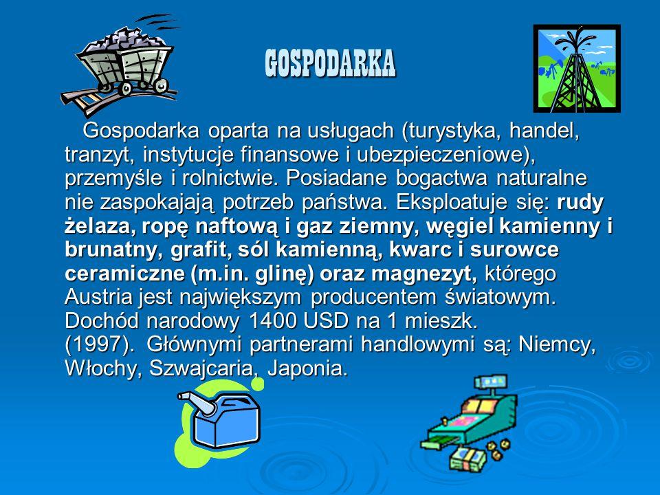 GOSPODARKA Gospodarka oparta na usługach (turystyka, handel, tranzyt, instytucje finansowe i ubezpieczeniowe), przemyśle i rolnictwie. Posiadane bogac