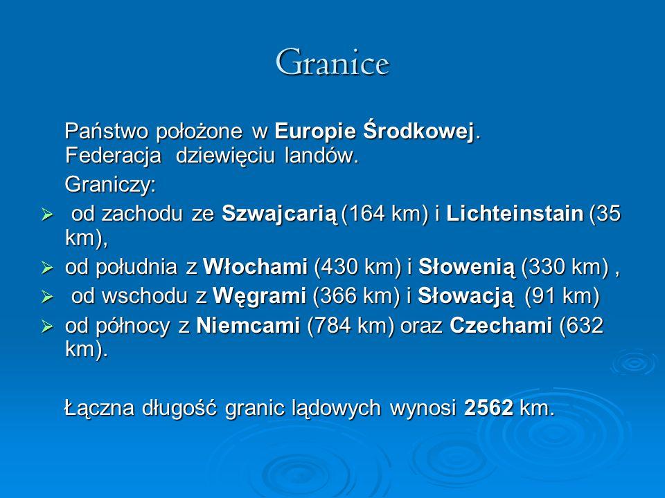 Granice Państwo położone w Europie Środkowej. Federacja dziewięciu landów. Państwo położone w Europie Środkowej. Federacja dziewięciu landów. Graniczy