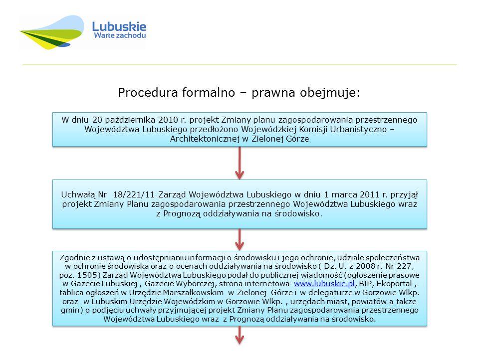 Procedura formalno – prawna obejmuje: Uchwałą Nr 18/221/11 Zarząd Województwa Lubuskiego w dniu 1 marca 2011 r. przyjął projekt Zmiany Planu zagospoda